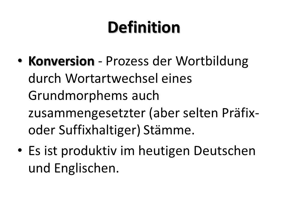 Definition Konversion Konversion - Prozess der Wortbildung durch Wortartwechsel eines Grundmorphems auch zusammengesetzter (aber selten Präfix- oder S