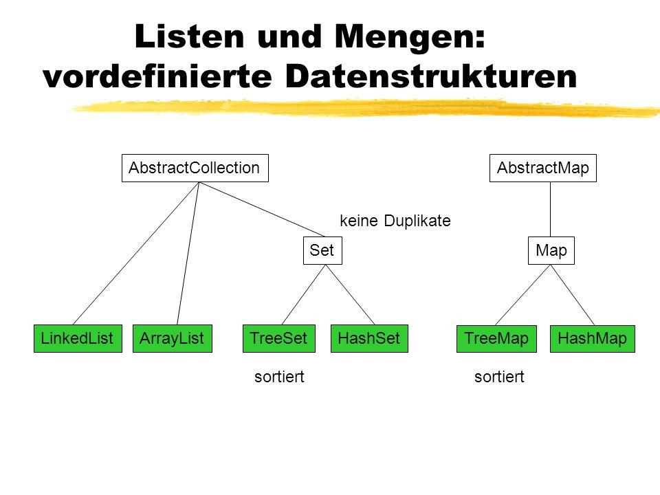 Listen und Mengen: vordefinierte Datenstrukturen AbstractCollectionAbstractMap SetMap TreeSetHashSet TreeMapHashMap LinkedListArrayList sortiert keine