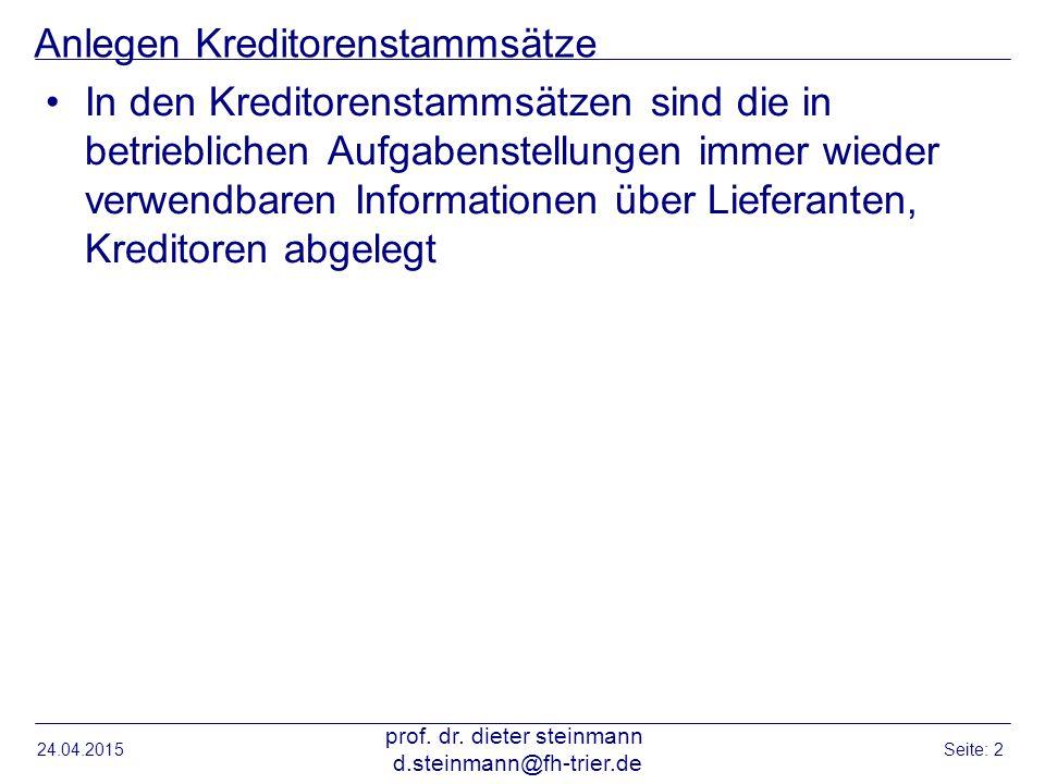Einstieg Stammdaten anlegen Lieferant 24.04.2015 prof.