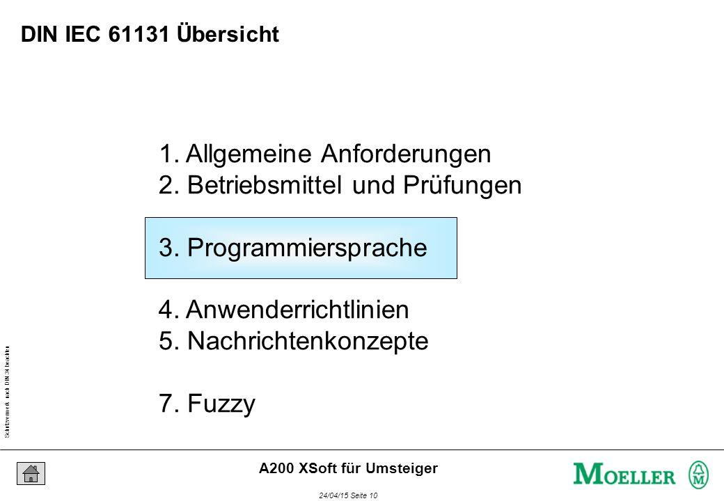 Schutzvermerk nach DIN 34 beachten 24/04/15 Seite 10 A200 XSoft für Umsteiger 1. Allgemeine Anforderungen 2. Betriebsmittel und Prüfungen 3. Programmi