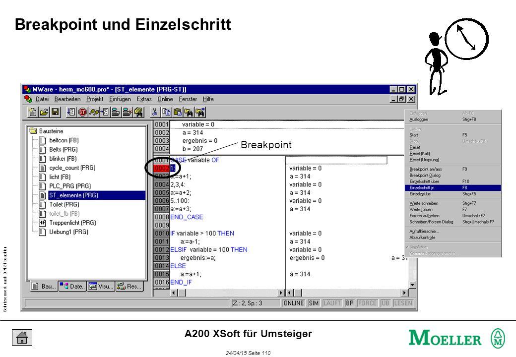 Schutzvermerk nach DIN 34 beachten 24/04/15 Seite 110 A200 XSoft für Umsteiger Breakpoint Breakpoint und Einzelschritt
