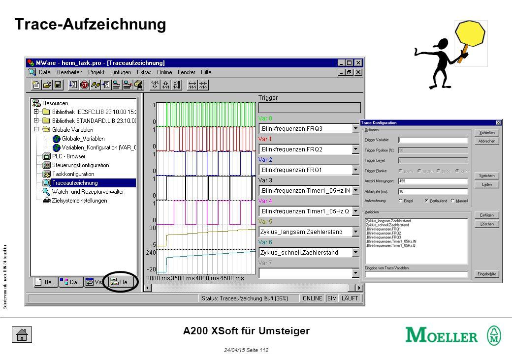 Schutzvermerk nach DIN 34 beachten 24/04/15 Seite 112 A200 XSoft für Umsteiger Trace-Aufzeichnung