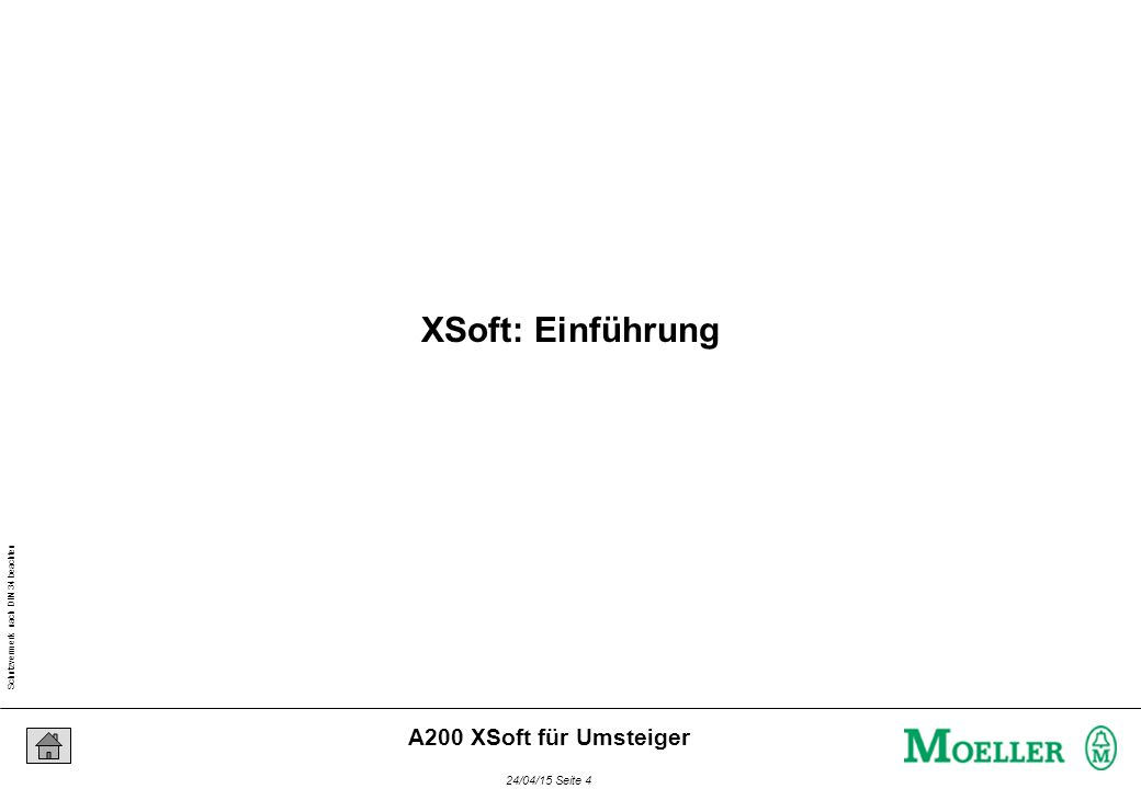 Schutzvermerk nach DIN 34 beachten 24/04/15 Seite 65 A200 XSoft für Umsteiger Mehrfachinstanzierung bedeutet: Zuordnung mehrerer Datenbereiche zu einem Funktionsbaustein VAR Rohlinge : CTU; Fertigteile: CTU; Ausschuss: CTU; END_VAR CTU Anweisungen + Datensatz Rohlinge XControl-Speicher Datensatz Fertigteile Datensatz Ausschuss Instanzierung (2)