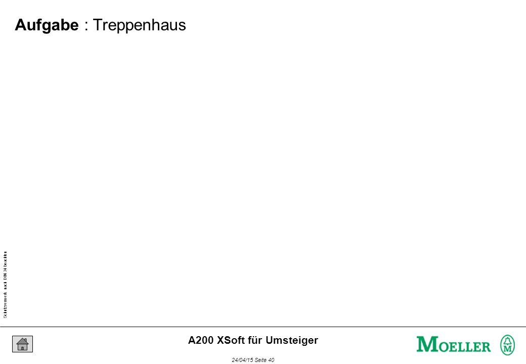 Schutzvermerk nach DIN 34 beachten 24/04/15 Seite 40 A200 XSoft für Umsteiger Aufgabe : Treppenhaus
