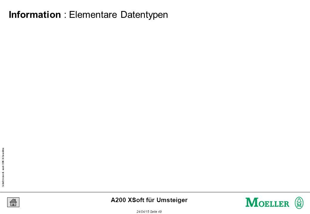 Schutzvermerk nach DIN 34 beachten 24/04/15 Seite 49 A200 XSoft für Umsteiger Information : Elementare Datentypen