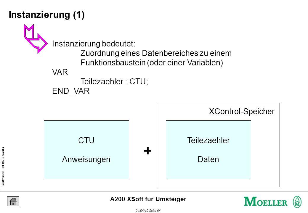 Schutzvermerk nach DIN 34 beachten 24/04/15 Seite 64 A200 XSoft für Umsteiger Instanzierung bedeutet: Zuordnung eines Datenbereiches zu einem Funktionsbaustein (oder einer Variablen) VAR Teilezaehler : CTU; END_VAR CTU Anweisungen + Teilezaehler Daten XControl-Speicher Instanzierung (1)