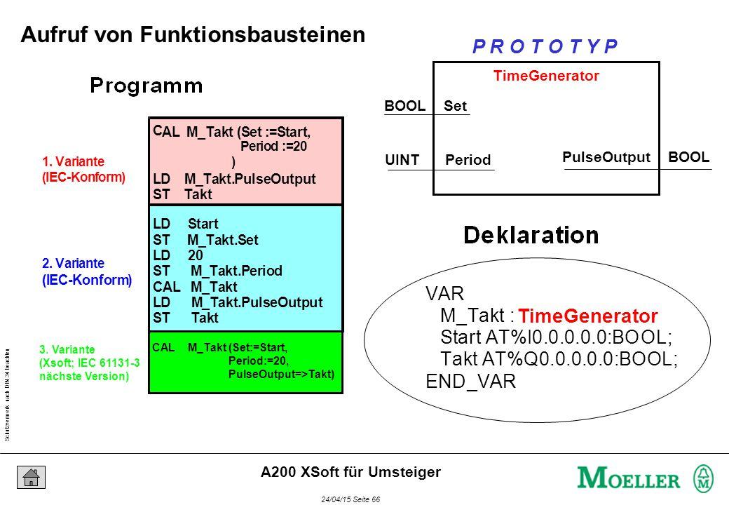 Schutzvermerk nach DIN 34 beachten 24/04/15 Seite 66 A200 XSoft für Umsteiger 1. Variante (IEC-Konform) 2. Variante (IEC-Konform) C AL M_Takt (Set :=S