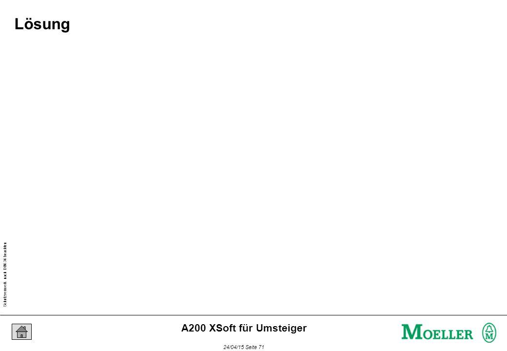 Schutzvermerk nach DIN 34 beachten 24/04/15 Seite 71 A200 XSoft für Umsteiger Lösung
