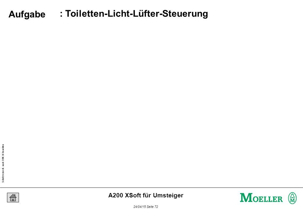 Schutzvermerk nach DIN 34 beachten 24/04/15 Seite 72 A200 XSoft für Umsteiger : Toiletten-Licht-Lüfter-Steuerung Aufgabe