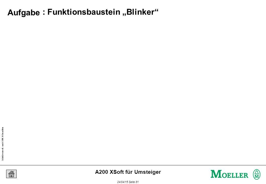 """Schutzvermerk nach DIN 34 beachten 24/04/15 Seite 81 A200 XSoft für Umsteiger : Funktionsbaustein """"Blinker"""" Aufgabe"""