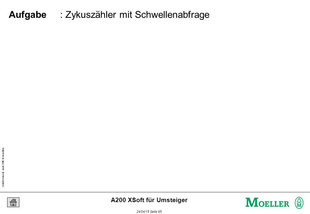 Schutzvermerk nach DIN 34 beachten 24/04/15 Seite 95 A200 XSoft für Umsteiger : Zykuszähler mit Schwellenabfrage Aufgabe