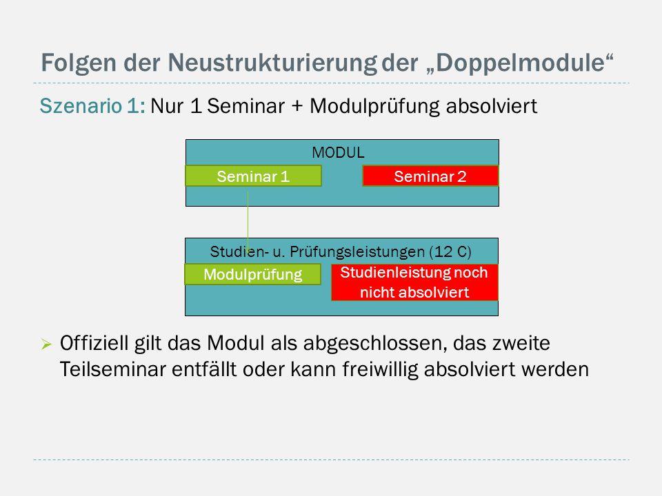 "Folgen der Neustrukturierung der ""Doppelmodule Szenario 1: Nur 1 Seminar + Modulprüfung absolviert  Offiziell gilt das Modul als abgeschlossen, das zweite Teilseminar entfällt oder kann freiwillig absolviert werden Studien- u."