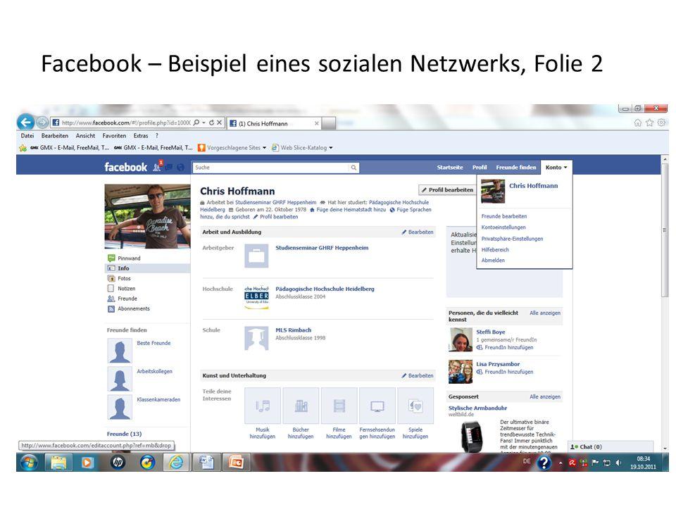 Facebook – Beispiel eines sozialen Netzwerks, Folie 2