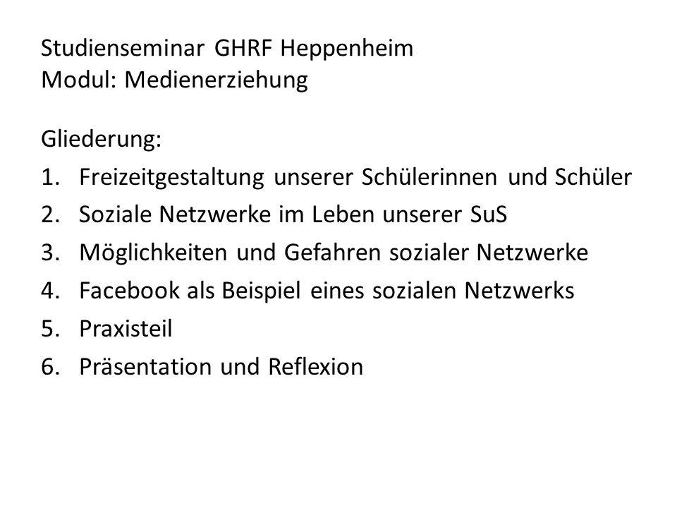 Studienseminar GHRF Heppenheim Modul: Medienerziehung Gliederung: 1.Freizeitgestaltung unserer Schülerinnen und Schüler 2.Soziale Netzwerke im Leben u