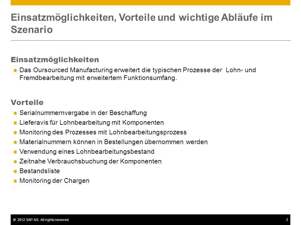 ©2012 SAP AG. All rights reserved.2 Einsatzmöglichkeiten, Vorteile und wichtige Abläufe im Szenario Einsatzmöglichkeiten Das Oursourced Manufacturing