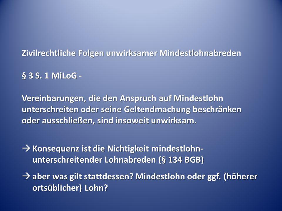 Zivilrechtliche Folgen unwirksamer Mindestlohnabreden § 3 S. 1 MiLoG - Vereinbarungen, die den Anspruch auf Mindestlohn unterschreiten oder seine Gelt