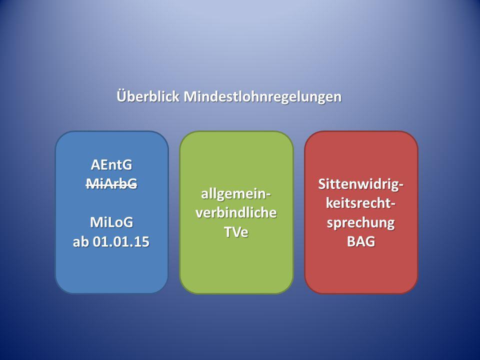Überblick Mindestlohnregelungen AEntGMiArbGMiLoG ab 01.01.15 allgemein- verbindliche TVe Sittenwidrig- keitsrecht- sprechung BAG
