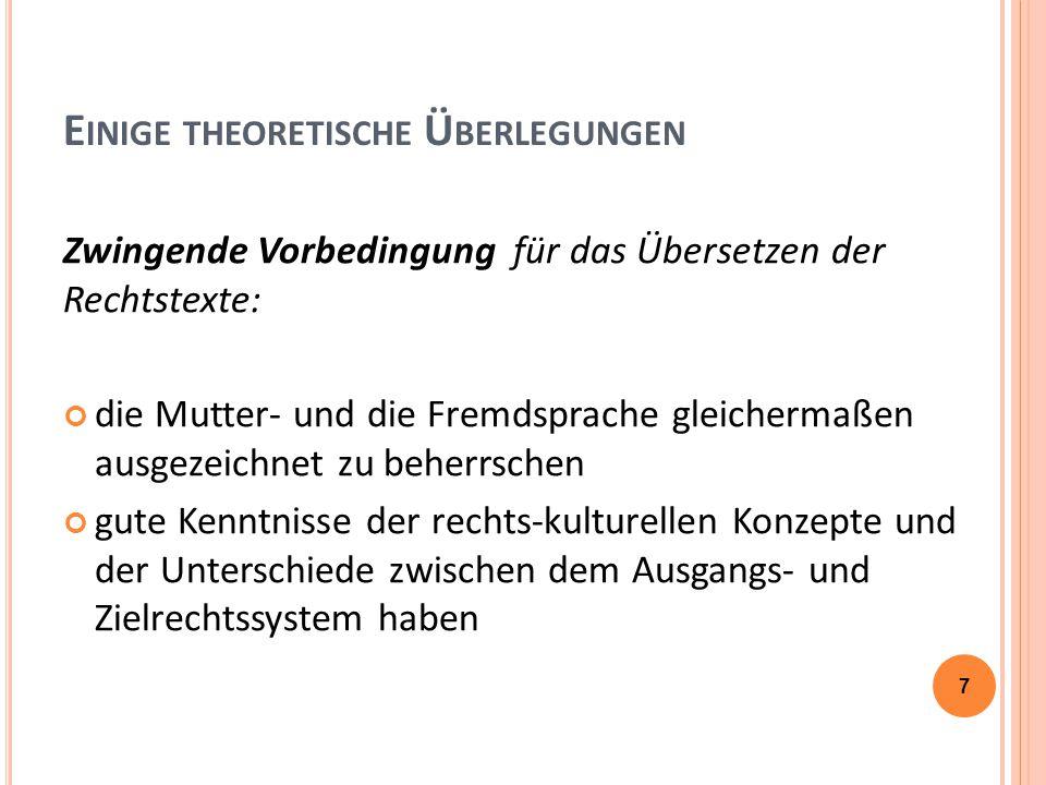 F ACHÜBERSETZUNGEN – R ECHTSTEXTE (MA) Verbesserungsvorschläge für die Zukunft:  weitere Vertiefung der Arbeit mit Hilfsmitteln, Korpora, Paralleltexten:  festgestellte Mängel bei HA insb.