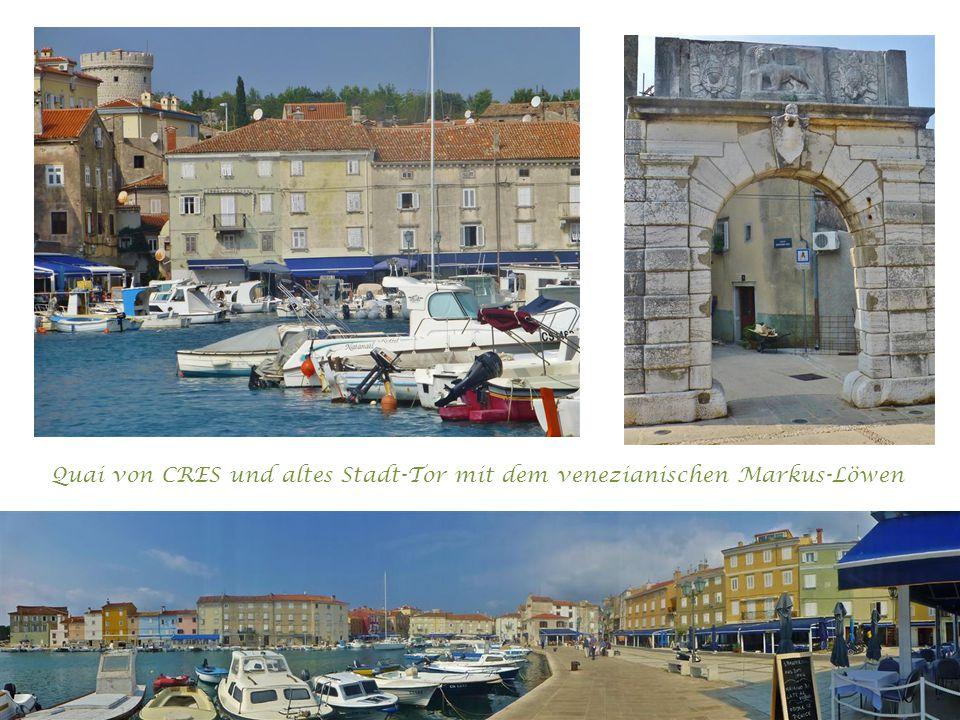 Quai von CRES und altes Stadt-Tor mit dem venezianischen Markus-Löwen