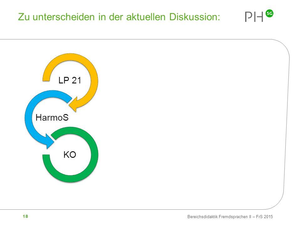 18 Bereichsdidaktik Fremdsprachen II – FrS 2015 Zu unterscheiden in der aktuellen Diskussion: LP 21 HarmoS KO