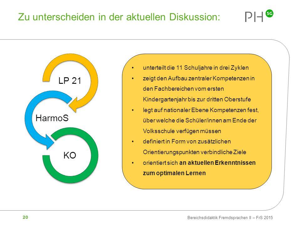 20 Bereichsdidaktik Fremdsprachen II – FrS 2015 Zu unterscheiden in der aktuellen Diskussion: unterteilt die 11 Schuljahre in drei Zyklen zeigt den Au