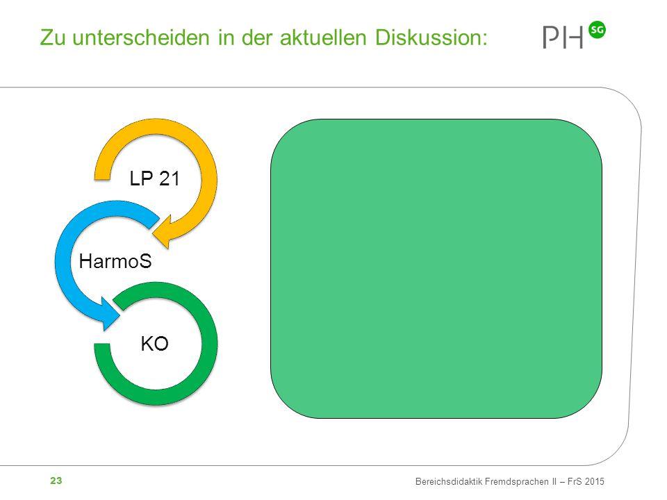 23 Bereichsdidaktik Fremdsprachen II – FrS 2015 Zu unterscheiden in der aktuellen Diskussion: LP 21 HarmoS KO