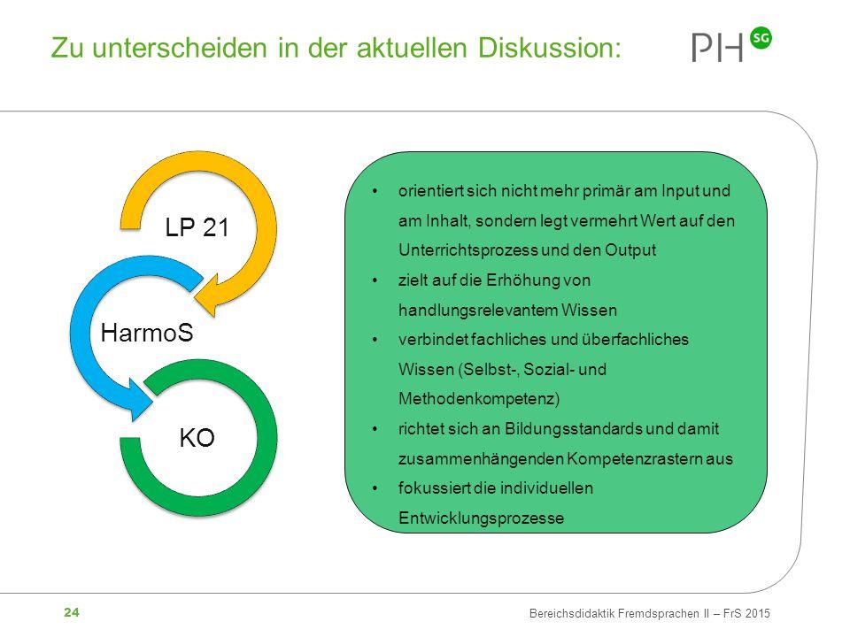 24 Bereichsdidaktik Fremdsprachen II – FrS 2015 Zu unterscheiden in der aktuellen Diskussion: orientiert sich nicht mehr primär am Input und am Inhalt