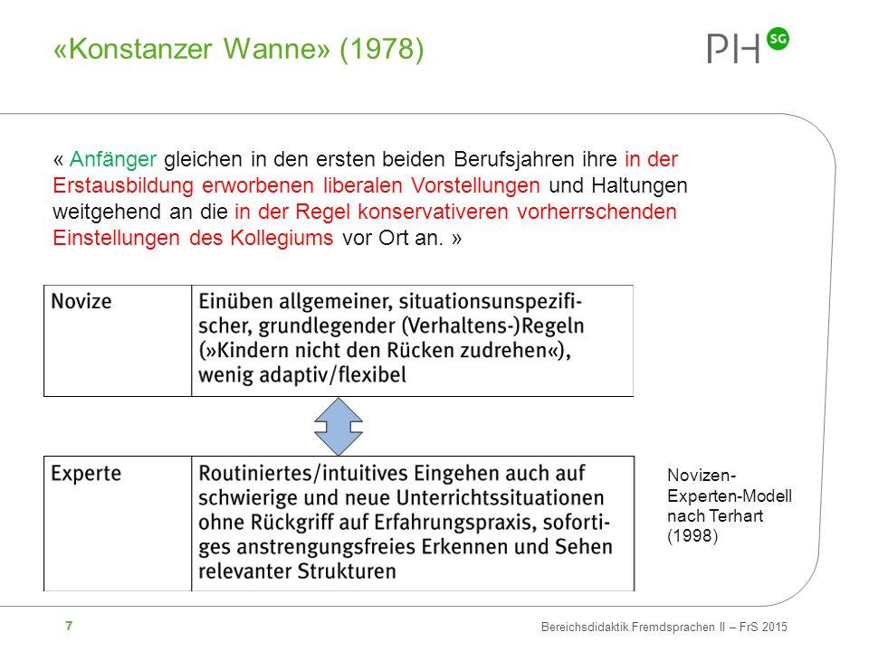 7 Bereichsdidaktik Fremdsprachen II – FrS 2015 «Konstanzer Wanne» (1978) « Anfänger gleichen in den ersten beiden Berufsjahren ihre in der Erstausbild