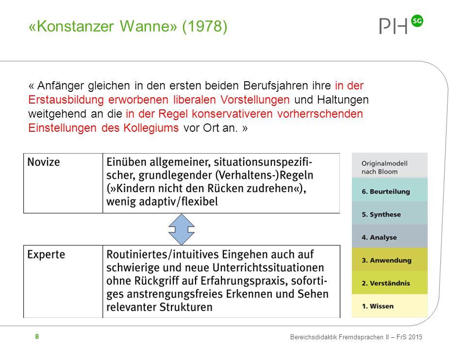 8 Bereichsdidaktik Fremdsprachen II – FrS 2015 «Konstanzer Wanne» (1978) « Anfänger gleichen in den ersten beiden Berufsjahren ihre in der Erstausbild