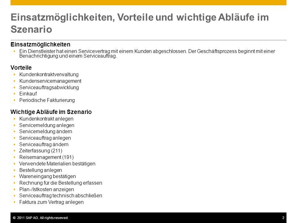 ©2011 SAP AG. All rights reserved.2 Einsatzmöglichkeiten, Vorteile und wichtige Abläufe im Szenario Einsatzmöglichkeiten  Ein Dienstleister hat einen