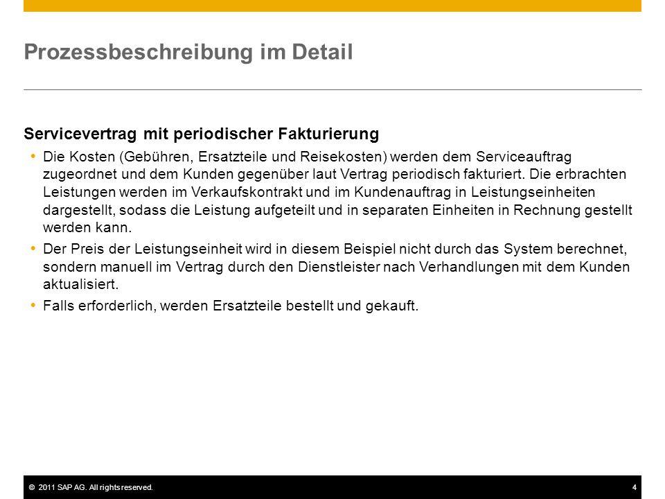 ©2011 SAP AG. All rights reserved.4 Prozessbeschreibung im Detail Servicevertrag mit periodischer Fakturierung  Die Kosten (Gebühren, Ersatzteile und