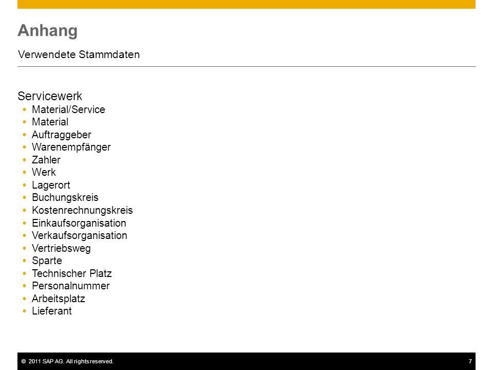 ©2011 SAP AG. All rights reserved.7 Anhang Verwendete Stammdaten Servicewerk  Material/Service  Material  Auftraggeber  Warenempfänger  Zahler 