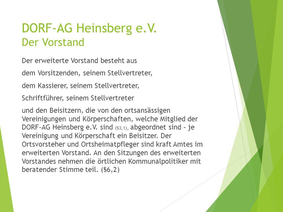 DORF-AG Heinsberg e.V. Der Vorstand Der erweiterte Vorstand besteht aus dem Vorsitzenden, seinem Stellvertreter, dem Kassierer, seinem Stellvertreter,