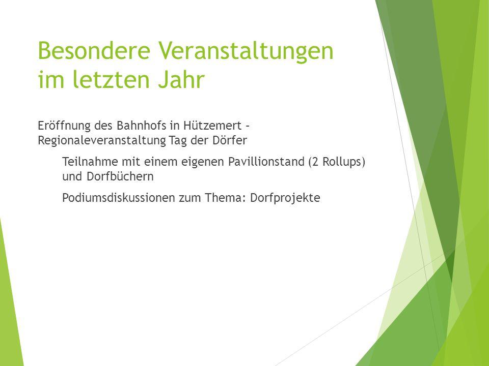 Eröffnung des Bahnhofs in Hützemert – Regionaleveranstaltung Tag der Dörfer Teilnahme mit einem eigenen Pavillionstand (2 Rollups) und Dorfbüchern Podiumsdiskussionen zum Thema: Dorfprojekte