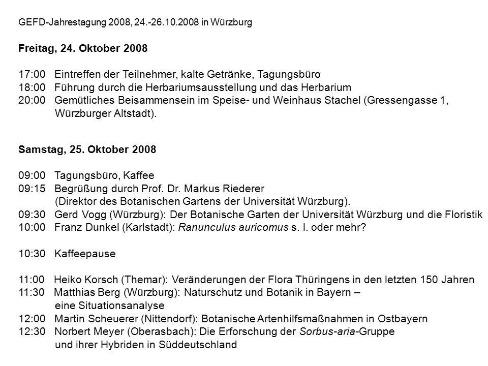 GEFD-Jahrestagung 2008, 24.-26.10.2008 in Würzburg Freitag, 24.