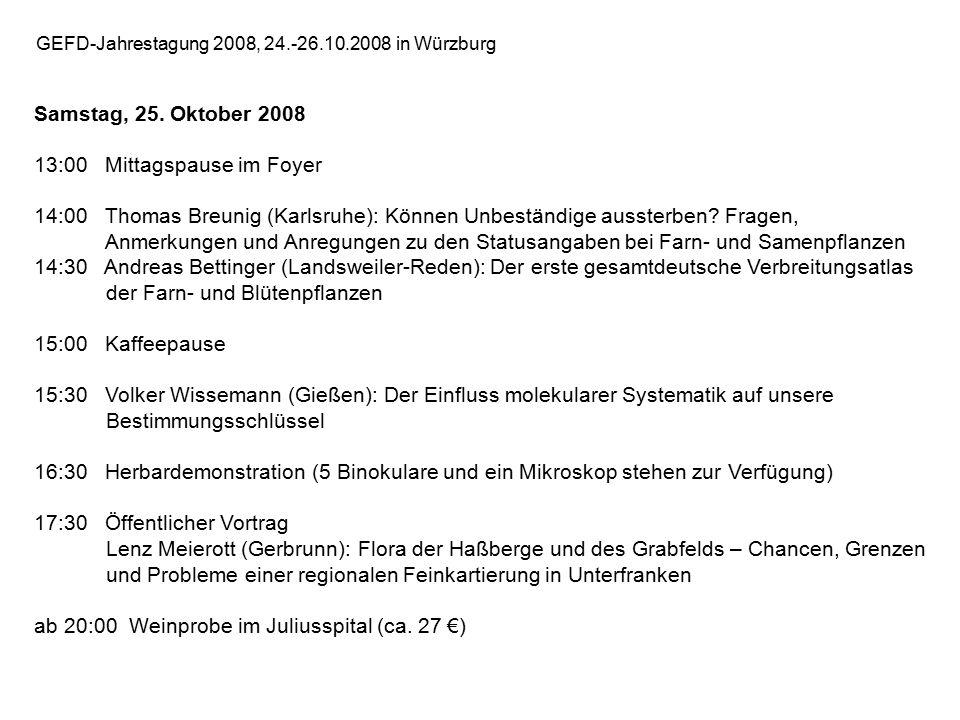 GEFD-Jahrestagung 2008, 24.-26.10.2008 in Würzburg Samstag, 25.