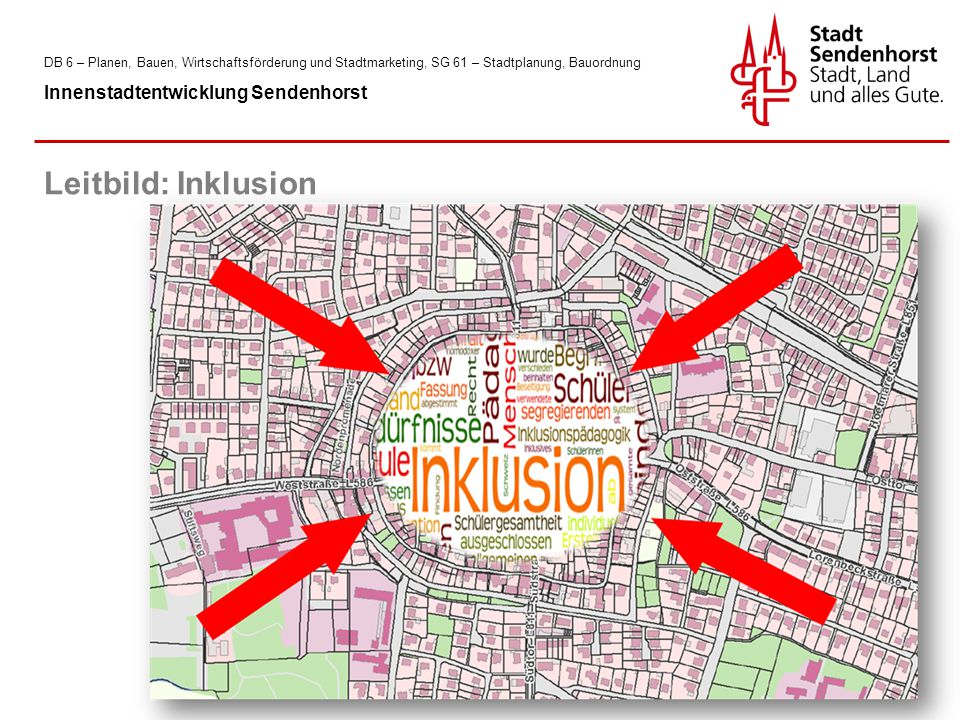 DB 6 – Planen, Bauen, Wirtschaftsförderung und Stadtmarketing, SG 61 – Stadtplanung, Bauordnung Innenstadtentwicklung Sendenhorst Leitbild: Inklusion
