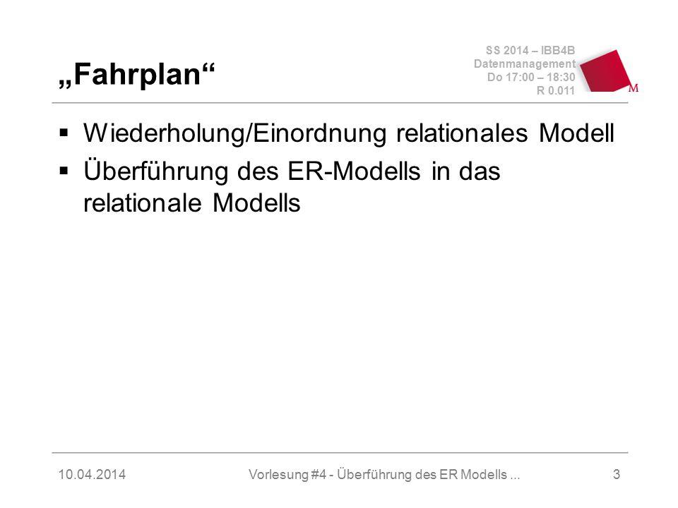 SS 2014 – IBB4B Datenmanagement Do 17:00 – 18:30 R 0.011 10.04.2014Vorlesung #4 - Überführung des ER Modells...4 Orientierung (Einordnung – wo stehen wir?) Miniwelt Relationales Schema Objektorientiertes Schema Netzwerk- Schema UML-Klassen ER-Diagramm Index(e) Cluster partitionierte Tabelle(n) DBMS -Speicherparameter 3.