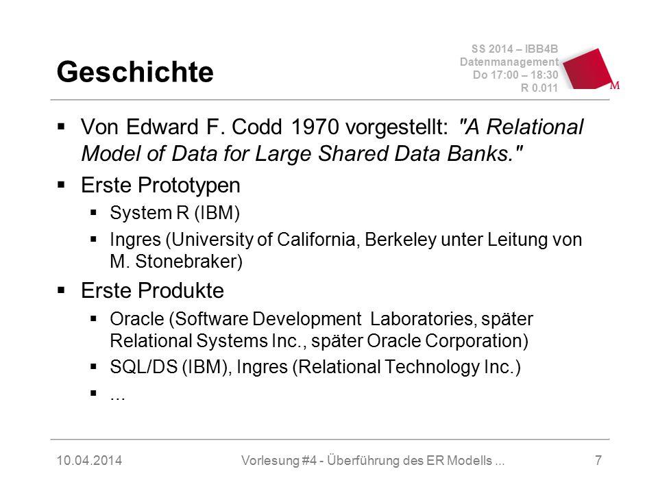 SS 2014 – IBB4B Datenmanagement Do 17:00 – 18:30 R 0.011 10.04.2014Vorlesung #4 - Überführung des ER Modells...18