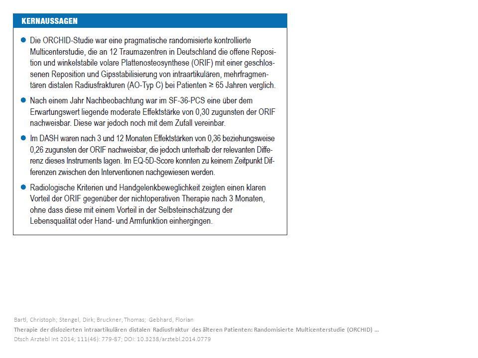 Bartl, Christoph; Stengel, Dirk; Bruckner, Thomas; Gebhard, Florian Therapie der dislozierten intraartikulären distalen Radiusfraktur des älteren Pati