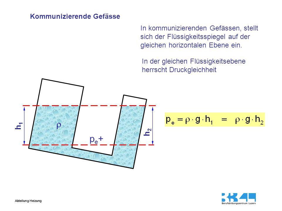 Abteilung Heizung h1h1 h2h2  pe+pe+ In kommunizierenden Gefässen, stellt sich der Flüssigkeitsspiegel auf der gleichen horizontalen Ebene ein.