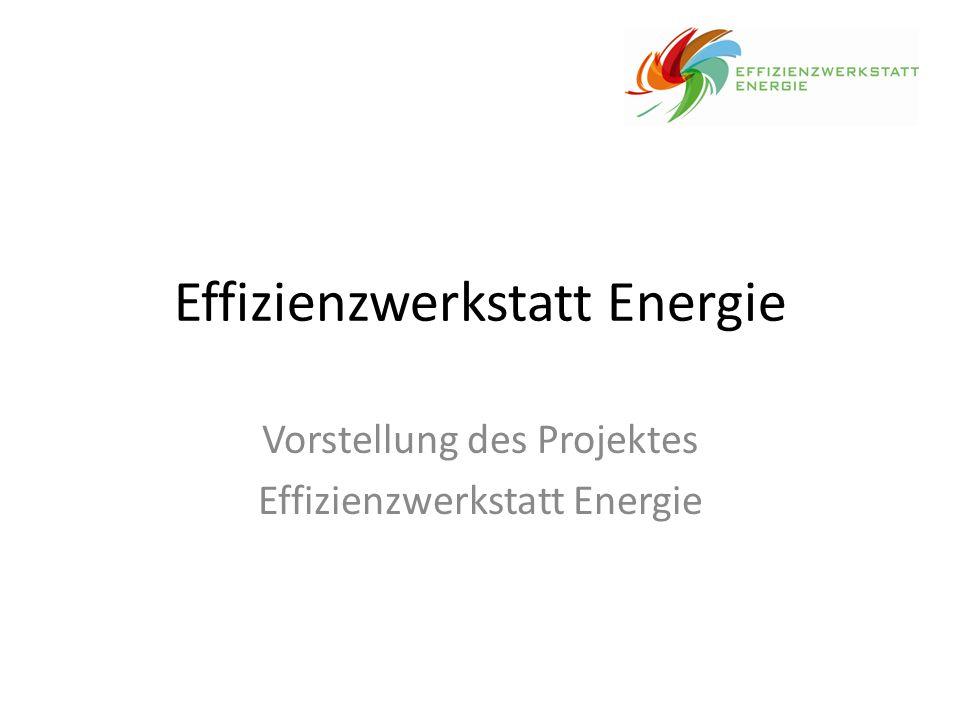 Effizienzwerkstatt Energie Vorstellung des Projektes Effizienzwerkstatt Energie