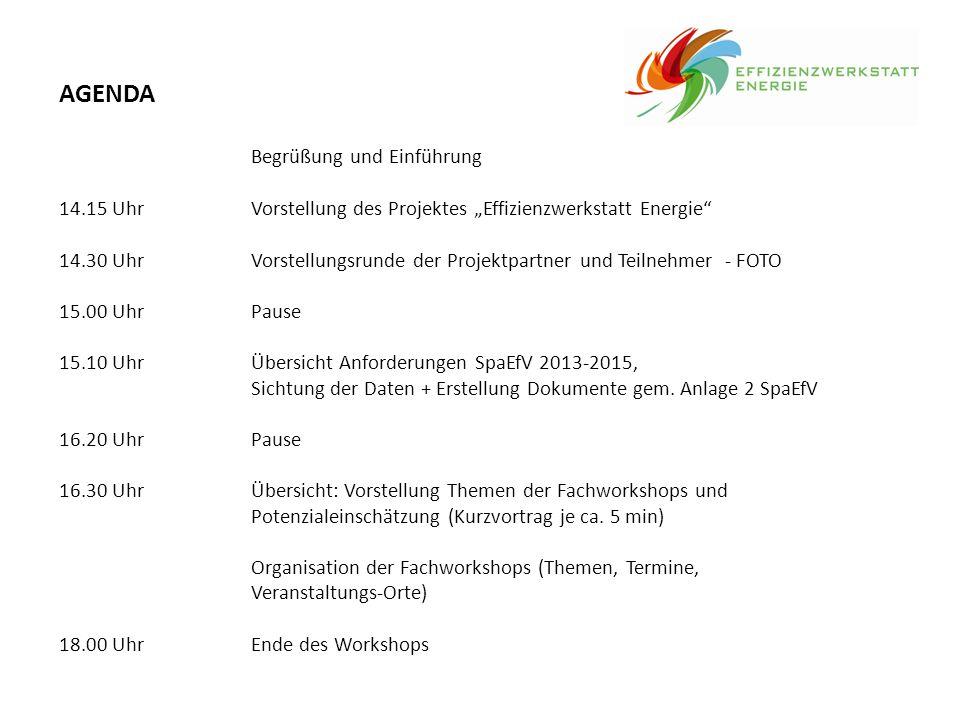 """AGENDA Begrüßung und Einführung 14.15 UhrVorstellung des Projektes """"Effizienzwerkstatt Energie"""" 14.30 UhrVorstellungsrunde der Projektpartner und Teil"""
