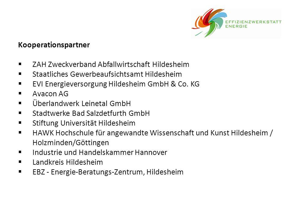 Kooperationspartner  ZAH Zweckverband Abfallwirtschaft Hildesheim  Staatliches Gewerbeaufsichtsamt Hildesheim  EVI Energieversorgung Hildesheim Gmb