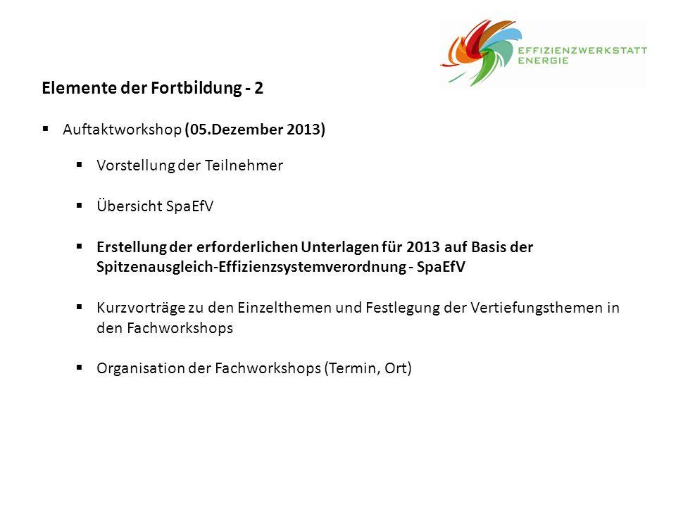 Elemente der Fortbildung - 3  4 Fach- und Qualifizierungs-Workshops in Abstimmung mit dem Bedarf der teilnehmenden Unternehmen, z.B.