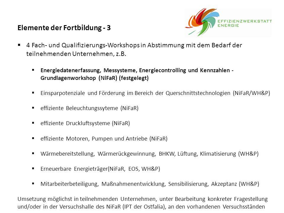 Elemente der Fortbildung - 3  4 Fach- und Qualifizierungs-Workshops in Abstimmung mit dem Bedarf der teilnehmenden Unternehmen, z.B.  Energiedatener