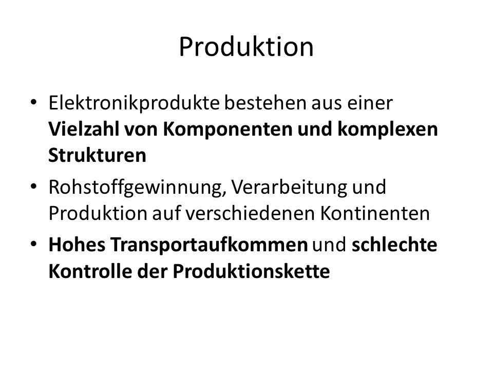 Produktion Elektronikprodukte bestehen aus einer Vielzahl von Komponenten und komplexen Strukturen Rohstoffgewinnung, Verarbeitung und Produktion auf