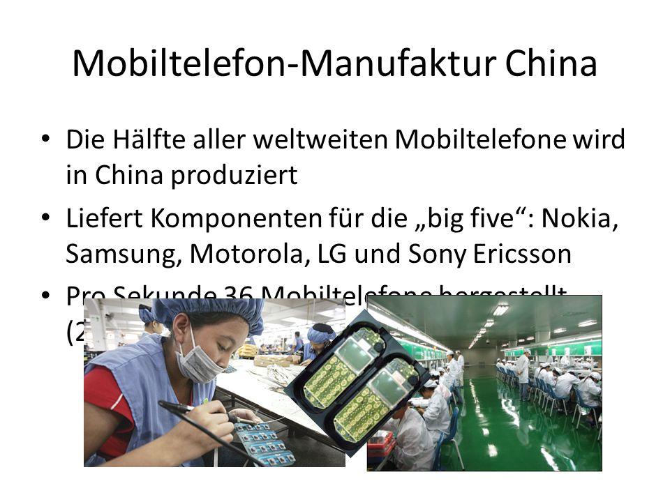 """Mobiltelefon-Manufaktur China Die Hälfte aller weltweiten Mobiltelefone wird in China produziert Liefert Komponenten für die """"big five"""": Nokia, Samsun"""