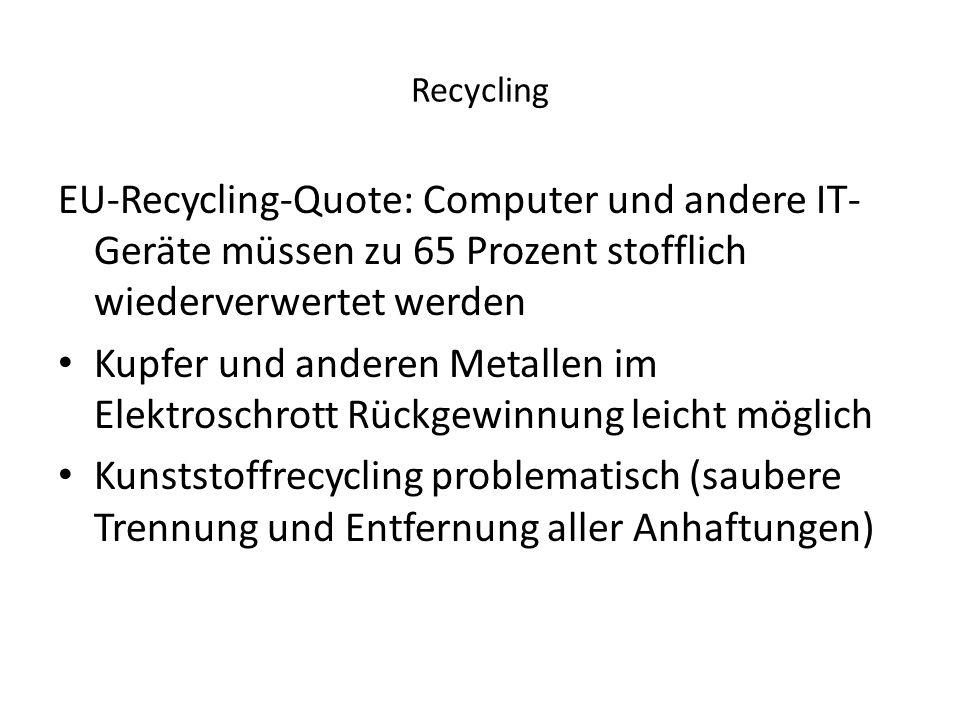 Recycling EU-Recycling-Quote: Computer und andere IT- Geräte müssen zu 65 Prozent stofflich wiederverwertet werden Kupfer und anderen Metallen im Elek
