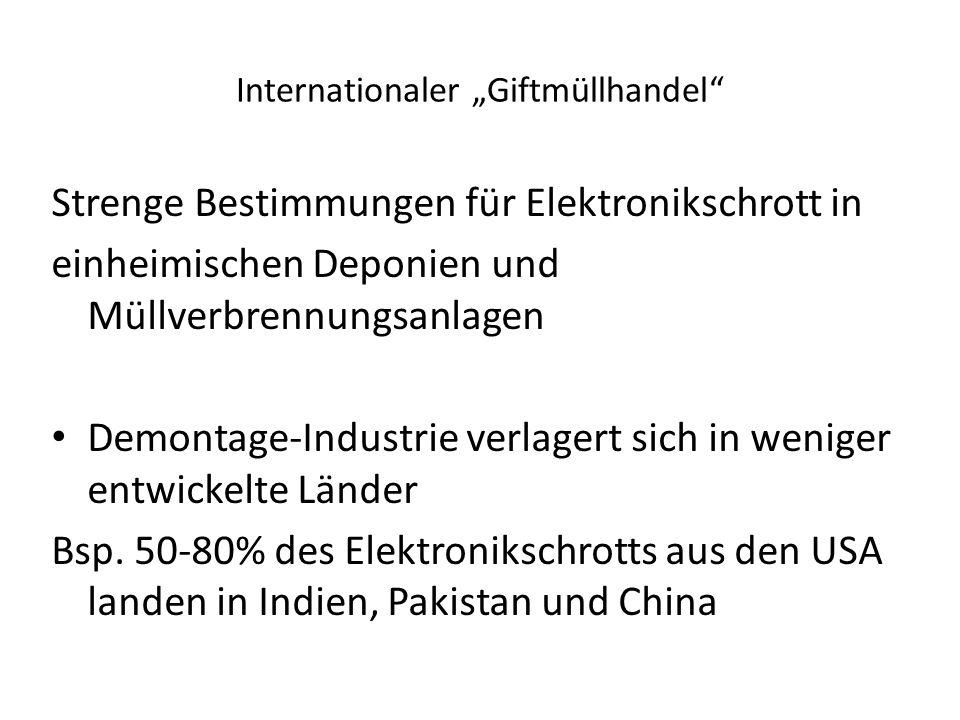 """Internationaler """"Giftmüllhandel"""" Strenge Bestimmungen für Elektronikschrott in einheimischen Deponien und Müllverbrennungsanlagen Demontage-Industrie"""
